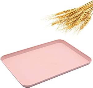 Dinner Tray, Unbreakable Lunch Tray, Decorative Food Serving Tray, Coffee Table Tray, Wheat Straw Tray Tea Platter for Couch, Party, Dining, Picnic, Snack, Appetizer (Pink)