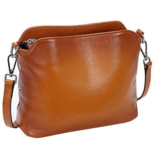 Kenoor Leather Handbags Small Shoulder Bag Crossbody Purse Hobo Clutch for Women (Sorrel) by Kenoor
