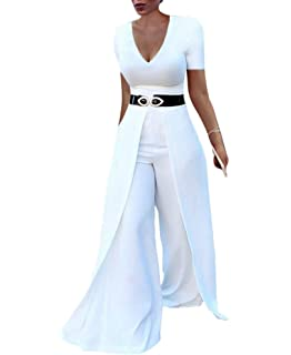 3f2174d930d4f Women s Short Sleeve Wide Leg Jumpsuits High Waisted Flare Palazzo Pants  Suit