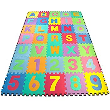 Matney Kidu0027s Foam Floor Alphabet And Number Puzzle Mat, Multicolor (36  Piece)