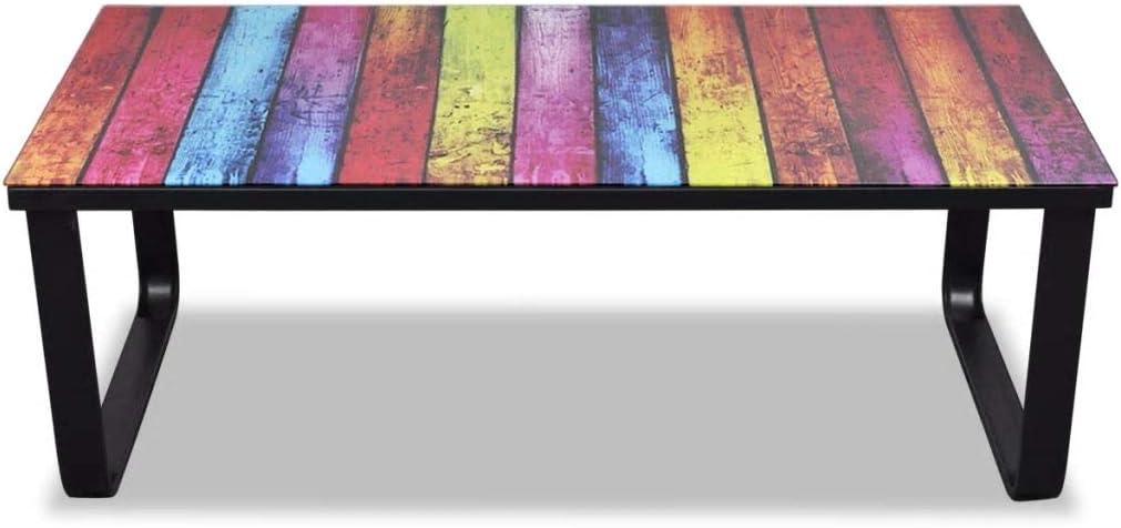 Tidyard Mesa de Centro Rectangular de Sal/ón con Superficie con Dibujo de Arcoiris,Mesa de Caf/é,Mesa Auxiliar para Habitaci/ón,Decoraci/ón para Hogar,Vidrio Templado y Hierro,90x45x32cm