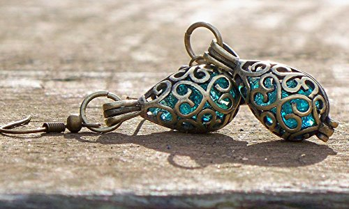 Recycled Vintage Mason Jar Brass Filigree Teardrop Earrings