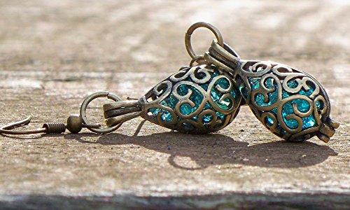 - Recycled Vintage Mason Jar Brass Filigree Teardrop Earrings