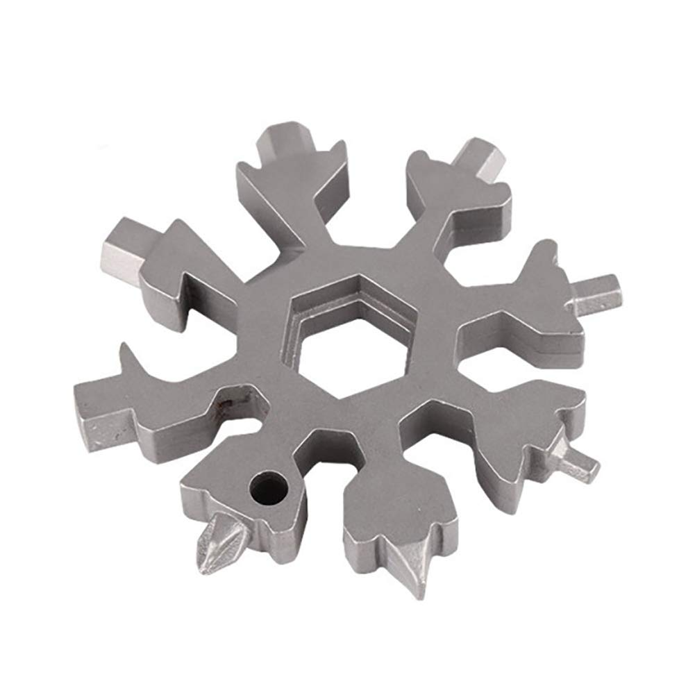AchidistviQ Portable 19-in-1 Multi-Purpose Screwdriver Bottle Opener Wrench Snowflake Tool Black