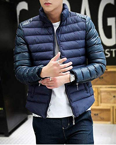 Jacket Coat Men's Collar Targogo Down Blended Slim Leisure Cotton Outerwear Transition Quilted Comfortable Stand Lightweight Navy Outdoor fwttd0