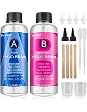 16 oz (474ml) - Epoxy Resin - Crystal Clear Resin Kit - Non-Toxic - for Art, Jewelry, DIY Crafts, Cast and Coating with Bonus Sticks, Graduated Cups, Gloves and Instructions