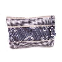 Cosmetiquera Chica Color Natural con Azul Mezclilla, Bordada en telar de Cintura