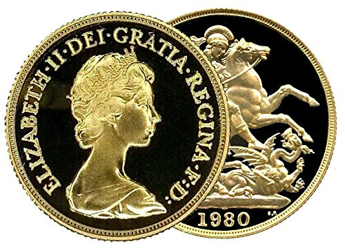 Allor Coins 1980 Queen Elizabeth II Proof or Sovereign + Capsulated within Luxury Case
