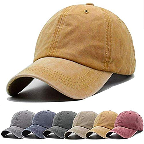 Aedvoouer Unisex Washed Twill Cotton Baseball Cap Vintage Distressed Plain Adjustable Dad Hat Yellow