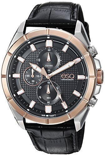 ESQ Men's 'Sport' Quartz Stainless Steel and Leather Casual Watch, Color Black (Model: 37ESQE13301A)