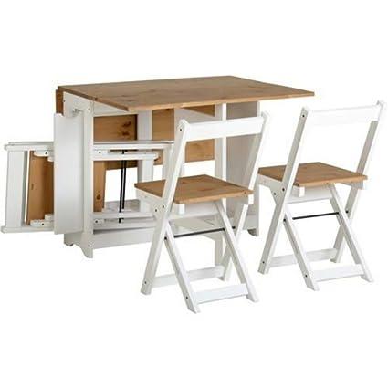 YUWEN La Mesa de Comedor de Madera Plegable Blanca con 4 ...