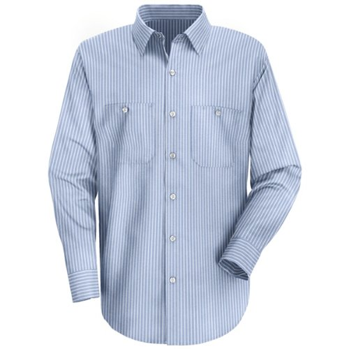 Red Kap Men's Industrial Stripe Work Shirt, GM Blue/White Stripe,  Long 2X-Large