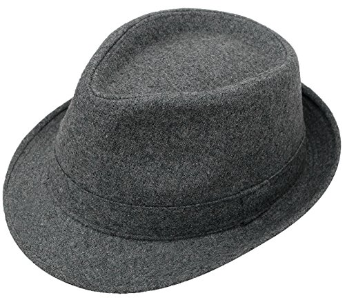 Men's Classic Manhattan Structured Gangster Trilby Fedora Hat, C.Grey (Grey Fedora Hat)