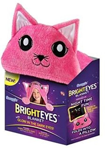 Bright Eyes Kitten Deluxe Kids Blanket, Glow in The Dark Eyes