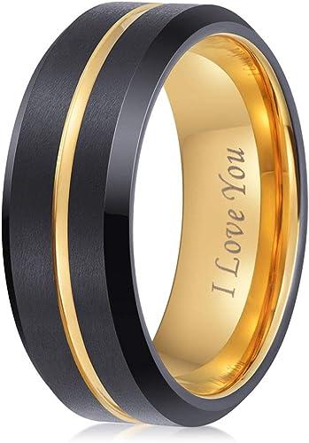 8mm Wedding Band Matte Center Comfort Fit Men Women Tungsten Carbide Ring