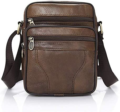 AMAZACER ビジネストラベル日常使用のための男性のショルダーバッグ、メッセンジャーショルダーバッグ革財布レトロサッチェル財布多機能スリングバッグ (Color : Brown)