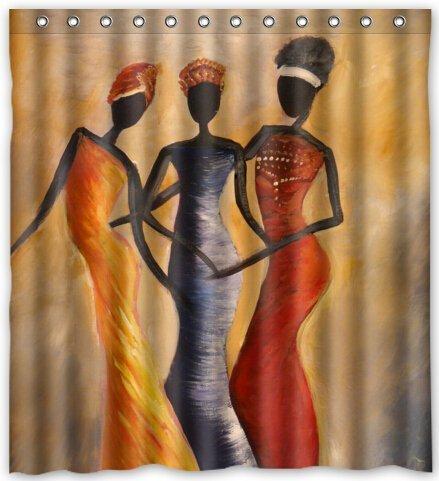 - KXMDXA African Woman Waterproof Polyester Shower Curtain 66x72 Inch Bathroom Decor