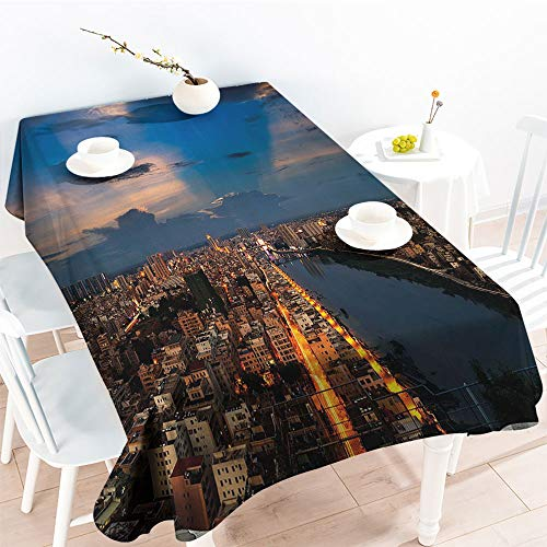 Metropolis One Light - Jinguizi Oil-Proof Spill-Proof City at Night Bridge Buildings Coast Skyline Twilight Metropolis SunBlue Yellow Light BrownOutdoor and Indoor Use Tablecloth(50 by 80 Inch Oblong Rectangular)