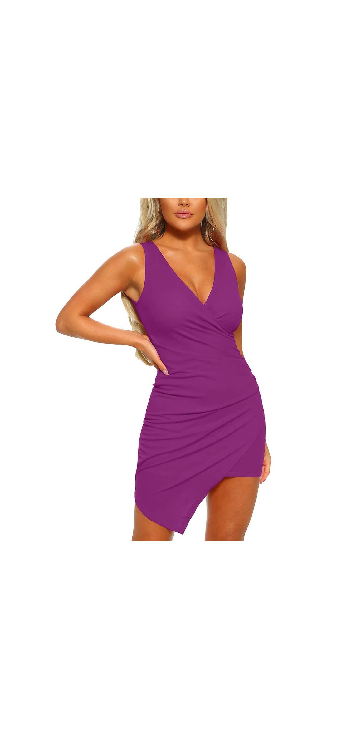 Women's Casual Sleeveless Ruched Cocktail Party Dresses