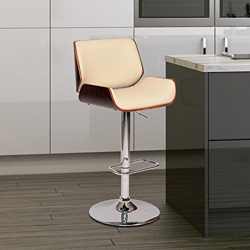Armen Living LCLOSWBACRWA London Swivel Barstool in Cream Faux Leather and Chrome Finish