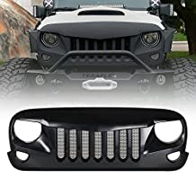 Xprite Front Matte Black Eagle Eye Grille Grid Grill with Mesh Insert for Jeep Wrangler Rubicon Sahara Sport JK 2007-2017