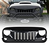 Xprite Front Matte Black Falcon Eagle Eye Grille Grid Grill W/ Mesh Insert for Jeep Wrangler Rubicon Freedom Sahara Sport Jk 2007-2018
