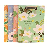 YeahiBaby 4PCS Floral Clipboard Drawing Writing Board Profile Clip Boards for Home Office School (Letter Size)