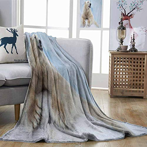 Lightweight Blanket Zoo Portrait of Large White Polar Bear on Ice Claws Antarctica North Outdoors Pale Blue Cream White Bedroom Warm W70 xL84