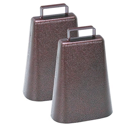7 Inch Steel Cow Bell with Handle and Antique Copper Finish, 2-Pack