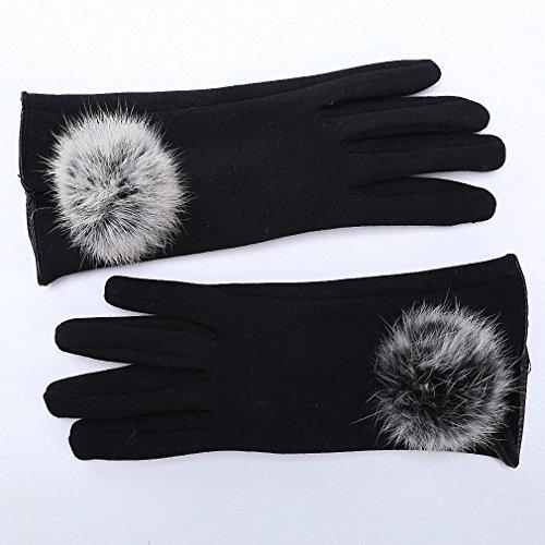 Women's Winter Gloves Genuine Fur Autumn Elegant Cotton Glove Real Rabbit Fur Pompom Touch Screen Driver's Gloves Mittens - Mechanics Gloves 710