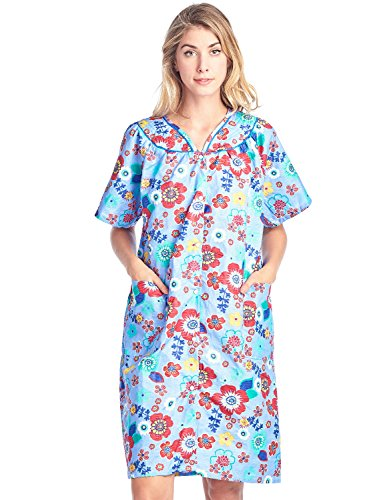 Casual Nights Women's Floral Woven Snap-Front Lounger House Dress - Blue - Medium