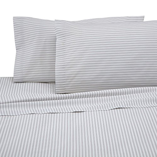Martex T225 Bed Sheet Set - Brushed Cotton Blend, Super Soft Finish, Wrinkle Resistant, Quick Drying,  Bedroom, Guest Room  - 3-Piece Twin XL Set, Light Gray Ticking Stripe
