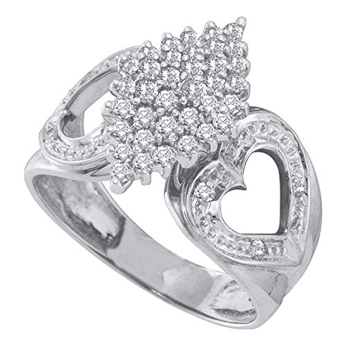 (Jewels By Lux 10kt White Gold Womens Round Diamond Cluster Heart Ring 1/2 Cttw In Prong Setting (I3 clarity; J-K color))