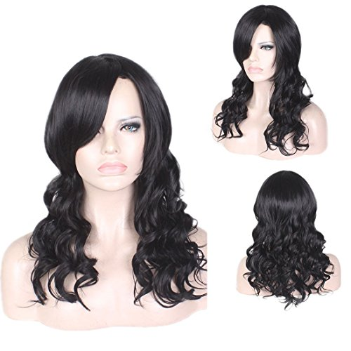 Curly Wig by YaRui Medium Length Body Wave Side Bangs Heat Resistant Wigs for Women Black 22 Inches -