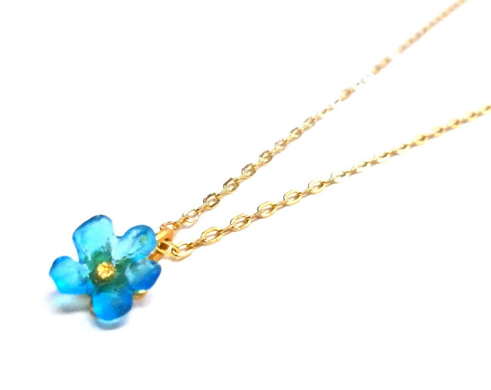 Michael Vincent Michaud- Glass ''Small Wildflower Pendant Necklace'' in Turquoise