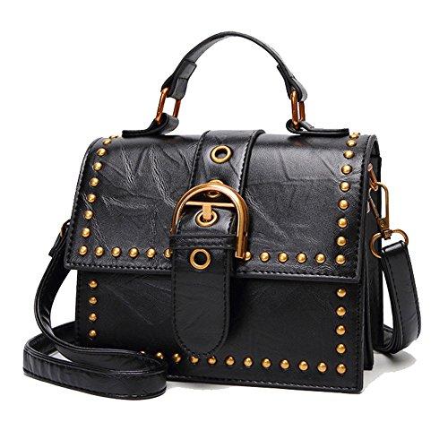 HQADIER Nieten Umhängetasche PU Kleine Quadratische Paket Schultertasche Handtaschen Persönlichkeit Vintage Party Tote Bürotasche Black