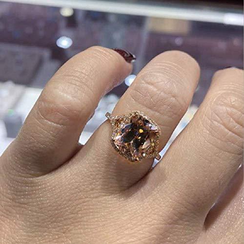 Duan Women's 18K Rose Gold Filled Morganite Pink Gemstone Cut 5ct Cubic Zirconia Ring Promise Aura Single Stone Engagement Champagne Ring Size 6-10 (US Code 9)