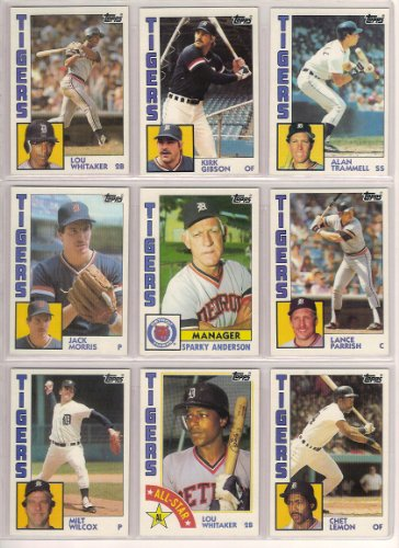 Jack Wilson Baseball - Detroit Tigers 1984 Topps Baseball Master Team Set w/ Year End Traded Cards (36 Cards) (WORLD SERIES CHAMPIONS) (Nr-Mt to Mt)** Glenn Abbott, Sparky Anderson, Doug Bair, Dave Bergman, Tom Brookens, Marty Castillo, Darrell Evans, Barbaro Garbey, Kirk Gibson, Johnny Grubb, Willie Hernandez, Larry Herndon, Lynn Jones, Ruppert Jones, Rick Leach, Chet Lemon, Jack Morris, Lance Parrish, Dan Petry, Dave Rozema, Alan Trammell, Lou Whitaker, Milt Wilcox, Glenn Wilson, Johnny Wockenfuss and More**