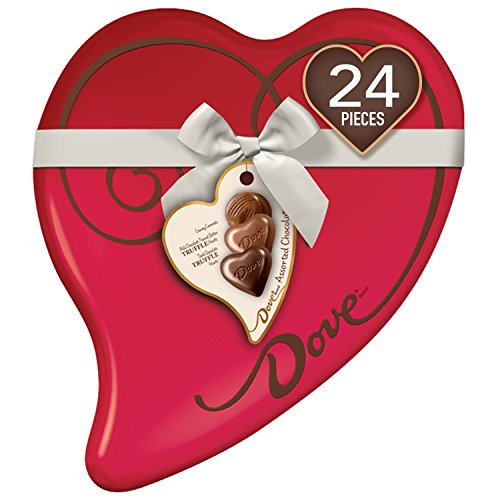Candy Heart Box - DOVE Valentine's Assorted Chocolate Candy Heart Gift Box 8.13-Ounce 24-Piece Tin