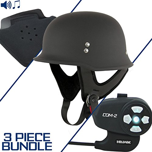 Outlaw Half Helmet - Outlaw T-75 German Style Flat Black Half Helmet with Hawk COM-2 Bluetooth Inter - Large w/ COM-2 Intercom