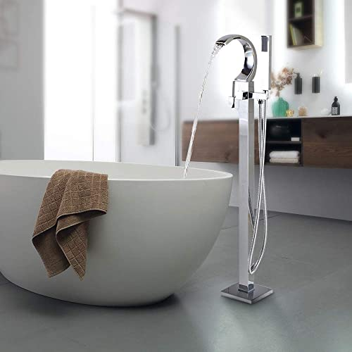 FUZ Chrome Freestanding Tub Faucet Single Handle High Arc Spout with Handheld Sprayer Floor Mounted Bathroom Mixer Tap
