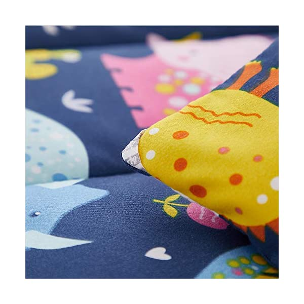 Joyreap 4 Piece Toddler Bedding Set, Standard Size Colorful Dinosaur Printed on Navy, Includes Quilted Comforter, Fitted Sheet, Top Sheet, and Pillow Case for Boys n Girls 4