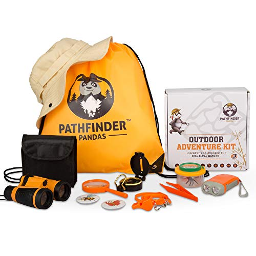 Kids Explorer Kit | Premium Kids Camping Toys and Outdoor Adventure Kits for Boys and Girls 3-12 Years Old |Backyard Safari Hat Kids Binoculars, Flashlight, Bug Kits for Kids, Compass, Ebook and More