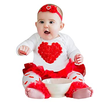06f867d0a6 Amazon.com : NUWFOR Newborn Infant Baby Girl Heart Romper Tops+Tutu Tulle  Skirt Valentine Outfit Set(Z-White, 0-3 Months) : Beauty
