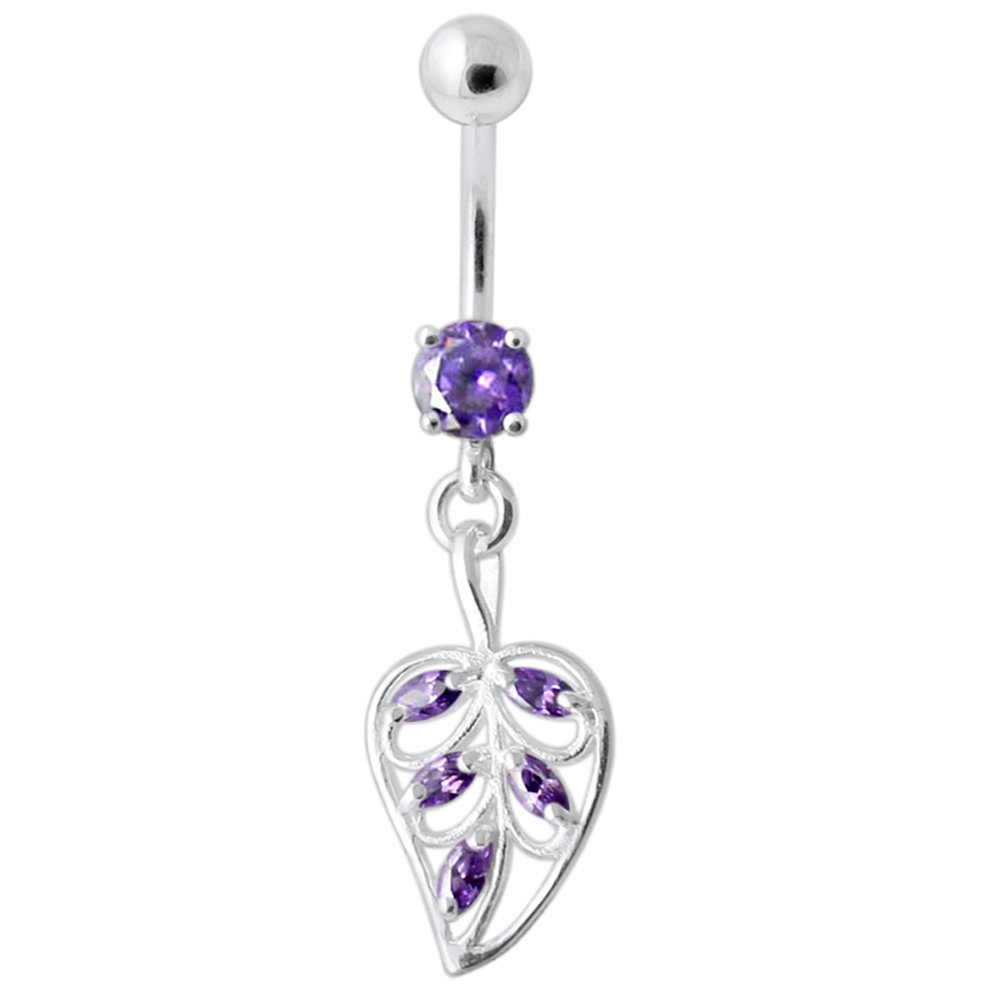 Purple CZ Stone Tribal Leaf Dangling 925 Sterling Silver Belly Button Ring Jewelry