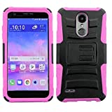 LG Rebel 4 Case, LG (Rebel 4) 4G LTE Case, Phone Case for Straight Talk LG Rebel 4 Prepaid Smartphone, Heavy Duty Shockproof Holster Case Cover and Swivel Belt Clip Kickstand (Pink)
