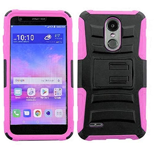 LG Rebel 4 Case, LG (Rebel 4) 4G LTE Case, Phone Case for Straight Talk LG Rebel 4 Prepaid Smartphone, Heavy Duty Shockproof Holster Case Cover and Swivel Belt Clip Kickstand (Pink) (Pink Straight Talk Phones)