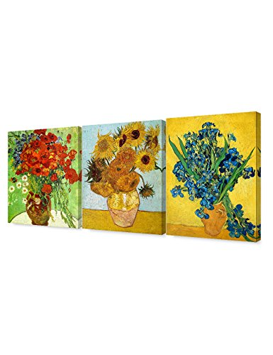 DecorArts - Triptych (Van Gogh Flower Series) , Vincent classic Art Reproduction. Giclee Canvas Prints Wall Art for Home Decor 16x20