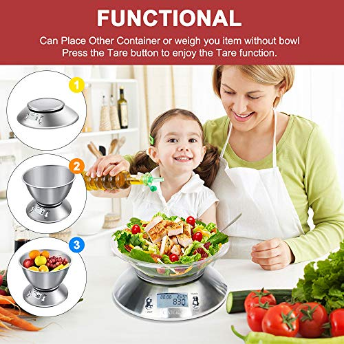 CAMRY Digital Kitchen Scale High Accuracy Multifunction Food Scale with Removable Bowl 2.15l Liquid Volume, Room Temperature, Alarm Timer, Backlight LCD Display, Stainless Steel, 11lb/5kg