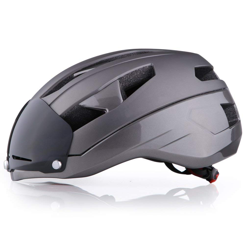 Base Camp Moon Road Bike Helmet with Removable Eye Shield Visor for Adult Cycling Medium Size 21.75-23.25 Inches